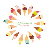 Life Is Better With Ice Cream. Festive Round Frame Made Of Ice-cream Cones With Sample Text Inspirational Quote Stock Image