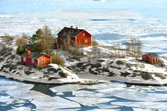 Life on islands. Ryssansaari Island in front of Helsinki, Finland. March Stock Images
