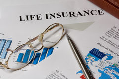 Life isurance blank bar chart and glases Stock Images