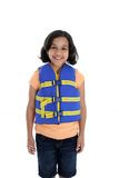 Life Jacket. Young girl with life jacket on a white background Stock Photography