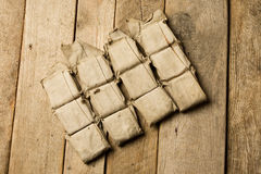 Life-jacket. Piece of very old life-jackets on old wood background Royalty Free Stock Photo