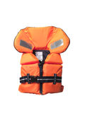 Life jacket. Orange life jacket towards white background Royalty Free Stock Photography