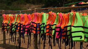 Life jacket. Colorful Life jacket on clothes line royalty free stock photo