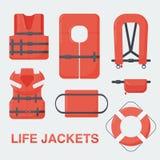 Life jacket  flat set Royalty Free Stock Image