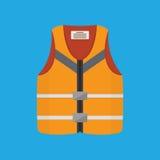 Life Jacket Flat Vector Illustration. Orange life safety jacket on blue background. Flat style vector illustration Royalty Free Stock Photo