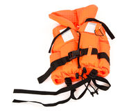 Life jacket isolated on white. Conceptual image of safety children`s life jacket isolated on white Stock Photo
