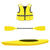 Life jacket, kayak boat and oar. Vector illustration of  yellow kayak boat, life jacket and plastic, rowing oar. Kayak isolated, sea kayak. Extreme sport Royalty Free Stock Images