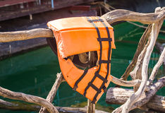 Life jacket in orange colours Stock Photos