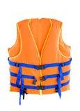 Life jacket. Orange Life jacket with isolated white background stock photo