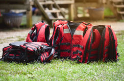 Life jacket. Red of Life jacket on grass Stock Images