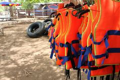 Life jacket for river raft tourists. royalty free stock images