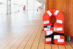 Life jacket stands on deck of cruise liner Royalty Free Stock Photography