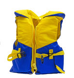 Life jacket. Yellow and blue life jacket over white royalty free stock images