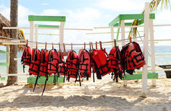 Life Jackets. Image of a string of life jackets Royalty Free Stock Photography