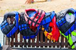 Life jackets at beach. Close up life jackets at beach royalty free stock images