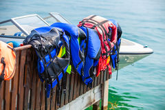 Life jackets at beach Royalty Free Stock Photography