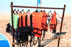 Life jackets. Beautiful shot of hanging life jackets Royalty Free Stock Image