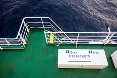 Life jackets box on boat deck Royalty Free Stock Photography