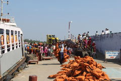Life Jackets of Ferry to Vivekanand Rock Memorial Royalty Free Stock Photos