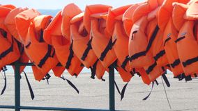 Life jackets - harbour Stock Image