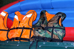 Life jackets on inflatable boat Royalty Free Stock Photo