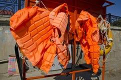 Life jackets and life buoys Royalty Free Stock Photography