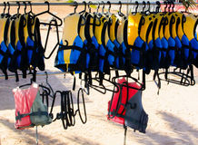 Life jackets on a rack Royalty Free Stock Images