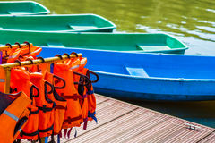 Life-jackets on rails Royalty Free Stock Images