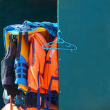 Life jackets rescue gear at beach Royalty Free Stock Photography