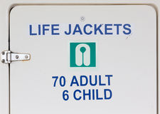 Life Jackets Sign on Closet Door Stock Photo
