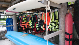 Life jackets. For a swim in the sea and equipment for rescue Stock Photos