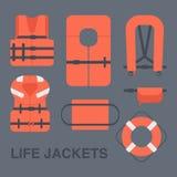 Life jackets types  flat icons set Royalty Free Stock Photography