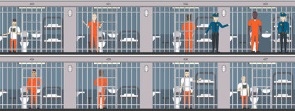Life in jail set. Royalty Free Stock Photos