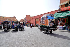 Daily life in the Jamaâna el-Fna square in Marrakech. Marrakesh Morocco Jamaa el Fna in Arabic: ساحة جامع الفناء jâmi`-fanâ`, or even Jemaa el Royalty Free Stock Image