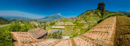 Life in Java province. Panoramic photo of village and houses with Mount Merbabu in distance near Yogya in central Java province in Indonesia. In this region, one Royalty Free Stock Photos