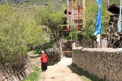 Tibetan village country lifestyle landscape Stock Photography