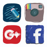 Life journal, facebook, instagram, google plus icon of social media, color doodle Stock Photo