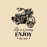 Life is a journey, enjoy the ride inspirational poster. Vector hand drawn retro bike for MC label, custom chopper store. Stock Photography