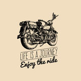 Life is a journey, enjoy the ride inspirational poster. Vector hand drawn retro bike for MC label, custom chopper store. Stock Photo
