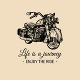 Life is a journey, enjoy the ride inspirational poster. Vector hand drawn retro bike for MC label, custom chopper store. Royalty Free Stock Photos