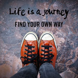 Life is a journey, Find your own way, Quotation Stock Photo