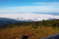 The life of journey in Thailand, Chiangmai, Doi Inthanon nationa. L park. The sea of fog form top of mountain. The phenomenal mist form natural Royalty Free Stock Image