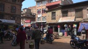 Daily life on a Kathmandu street circa stock footage