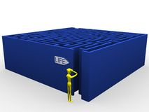 Life labyrinth. 3d illustration of a character in front of a maze. A clipping path is included in the file for easy editing Royalty Free Stock Photography