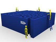Life labyrinth and help. 3d illustration of characters in front of a maze. A clipping path is included in the file for easy editing Stock Photos
