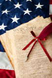 Life, Liberty and the pursuit of Happiness. The American flag, the US constitution and a fountain pen, can be used for 4th of july or any other patriotic Stock Images