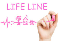 Life line, pink marker Royalty Free Stock Photography