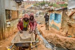 Daily life of local people of Kibera Slum in Nairobi,Kenya Stock Image