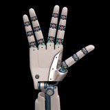 Life Long And Prosper Robot. Robotic hand shaped and measures that mimic the human skeleton. Clipping path included stock photo