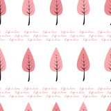 Life is love seamless pattern with text and cartoon pink trees in a row. Modern seamless pattern for cards, wallpapers royalty free illustration